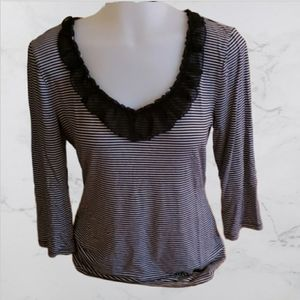 White house black market striped ruffle scoop neck